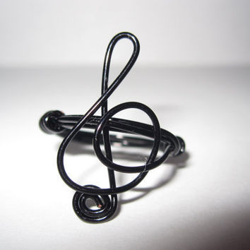 Treble Clef Ring Black Wire Wrapped by aLilJazzJewelry on Etsy