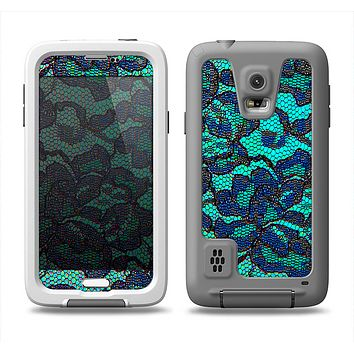 The Blue & Teal Lace Texture Samsung Galaxy S5 LifeProof Fre Case Skin Set
