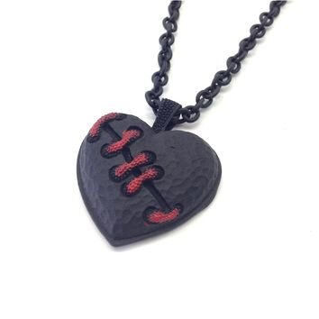 Black Bloody Stitched Heart Love Necklace-Red