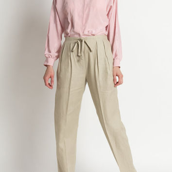 Vintage 90s Natural Tan Linen Pleated Trousers with Drawstring Waist | M