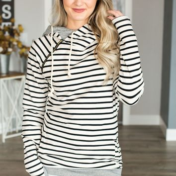 Double Hooded Sweatshirt - Tan Stripe