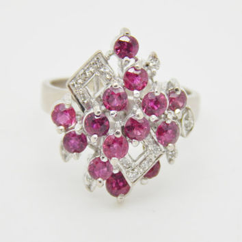 1940s Glamorous Vintage 18K White Gold Ruby and Diamond Abstract Statement Cluster Ring