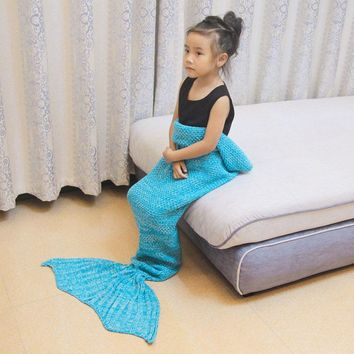 Kid Knitted Mermaid Tail Blanket Bedding Sofa Sleeping Bag Swaddling Mermaid Blanket Little Tail Throw Bed Wrap Blanket For Baby