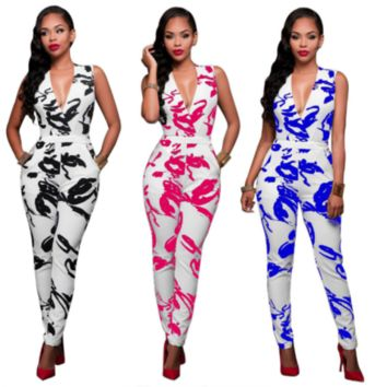 Sexy White with Black  Red or Blue Spots Plunge Casual Jumpsuit Overall Playsuit