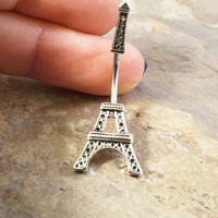 Silver Eiffel Tower Belly Button Jewelry Ring In-N-Out