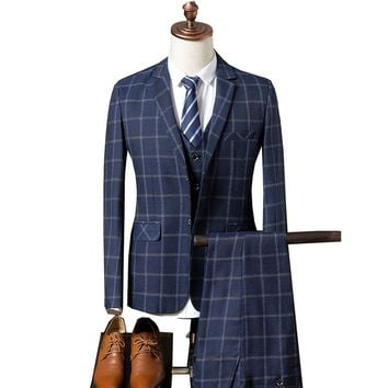 2017 new men's suits' three piece suit small Plaid suit youth leisure suit