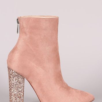 Suede Pointy Toe Glitter-Encrusted Chunky Heeled Ankle Boots