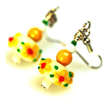 Artisan Lampwork glass Earrings  Yellow Flowers by MADEbyMADA
