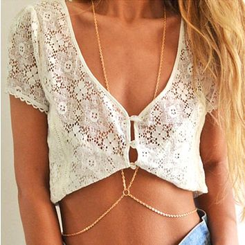 New Fashion Sexy Simple one chain Tassels Cross Body Link Belly Waist Necklace Chain Slave Harness Necklace female BodyChain