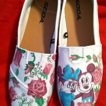 Custom hand painted acrylic canvas womens shoes mickey minnie floral