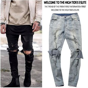 Skinny Distressed Slim Ripped Jeans For Men Male Famous Brand Designer Biker Hip Hop Black Denim Hole Jeans Pants Kanye West