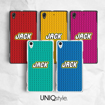 Personalized custom name phone case for Sony XperiaZ, XperiaZ1, XperiaZ2, XperiaZ1s, Xperia Z1 compact, XperiaM, XperiaM2 - lego case - E88