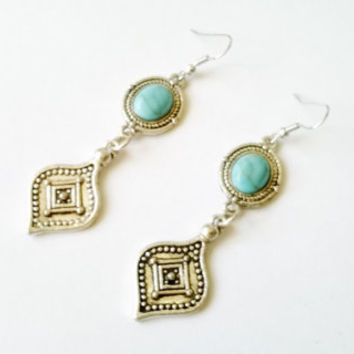 Earrings turquoise ethnic, Tibetan silver, earrings pendants Boho, ethnic jewelry, earrings Gypsy, free people