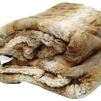 Tache Threshold Beige Faux Fur Throw Blanket