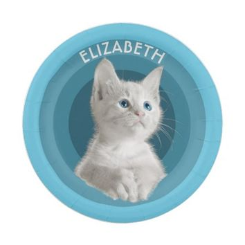 White Cute Blue Eyed Kitten In Turquoise Circles 7 Inch Paper Plate