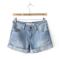Summer Classics 3-color Denim Plus Size Pants Shorts [6034374913]