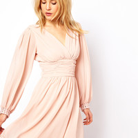 ASOS Blouson Sleeve Wrap Dress With Embellished Cuff