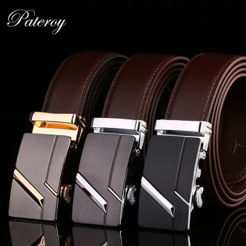 PATEROY Male Waist Belts Genuine Leather Automatic Men Belt Cinturon Hombre Ceinture Homme Designer Cinto Masculino High Quality