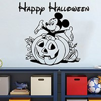 Wall Decal Happy Halloween Holiday Vinyl Sticker Mickey Mouse Pumpkin Decals Nursery Wall Decor Kids Room Childrens Bedroom NS917