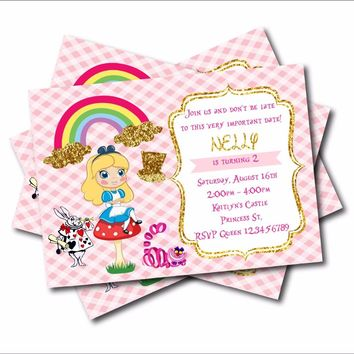 20 pcs/lot Alice in Wonderland Custom Party Invites Vintage Wonderland Baby Shower Invitations Birthday party decoration supply