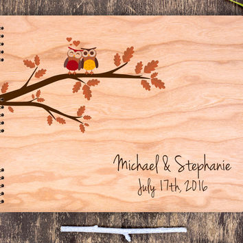Owl Wedding Guest Book, Owl Guest Book Tree, Love Owls on Tree, Wooden Guest Book Owl, Guest Book Wood, Wooden Wedding Book, Wedding Tree