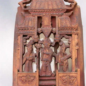 Chinese antique  wood sculpture relief face pagoda Hand Carved wood Chinese Wall art wood carving