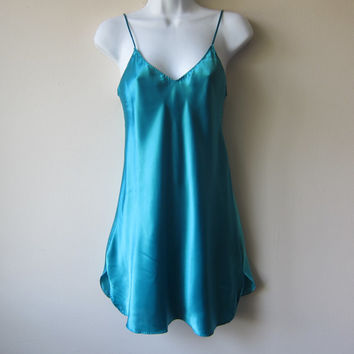 80s Satin Mini Slip Chemise Camisole Dress in Turquoise // Bold Color Block // Quirky Urban Hipster Style