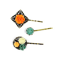 Bronze Flower Hair Grips in Teal and Orange - Handmade Hair Accessories, Flower Clips, Floral Pins, Flowers, Antique, Small Gift, Filigree