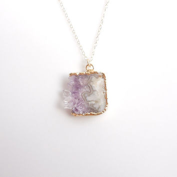 Amethyst Druzy Slice Necklace in Gold - A Best Seller