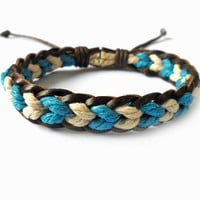 Bangle leather bracelet ropes bracelet woven bracelet women bracelet girls bracelet made of hemp rope and leather woven cuff  SH-1669