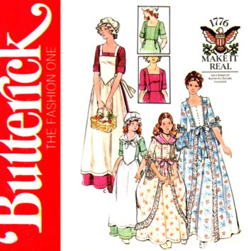 Girls Colonial Dress Pattern Breast 30 UNCUT Butterick 4261 1776 Dolly Madison Historical Costume Sewing Pattern