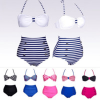 Retro High Waist Halterneck Bikini Set