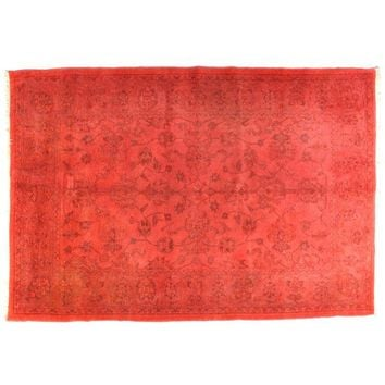 "Pre-owned Red Over-dyed Persian Carpet - 9'1"" x 6'3"""