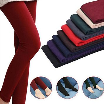 Women High Elasticity Leggings 2019 Autumn Winter Thick Warm Legging Brushed Lining Stretch Fleece Pants Trample Feet Leggings
