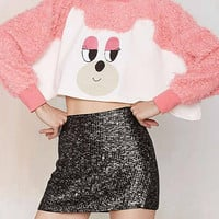 Pink Face Pattern Cropped Top