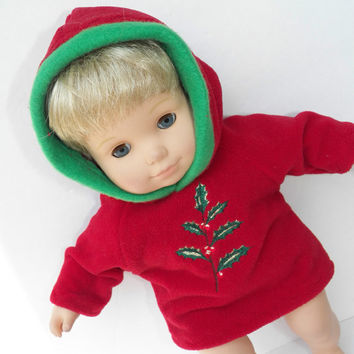 "American Girl Bitty Baby Clothes  15"" Doll Clothes Red Green Hooded Jacket Hoodie Sweatshirt Christmas Holly"