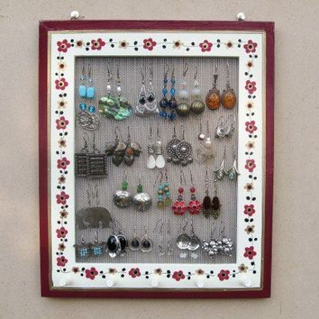 Bourdeaux & Cream JEWELRY DISPLAY RACK by tammnoony on Etsy