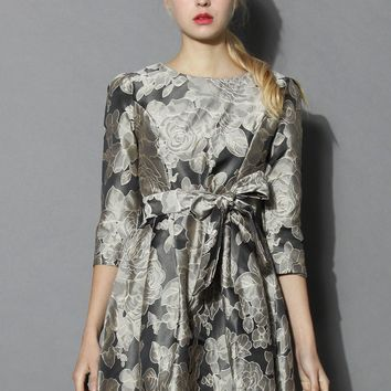 Faded Roses Jacquard Dress