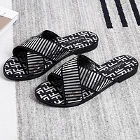 FENDI Summer Fashion Women Casual Sequins Flat Slipper Sandals Shoes Silvery