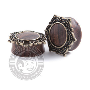 Antique Mandala Wood Plugs
