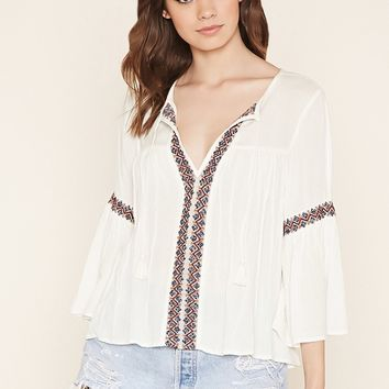 Lace-Embroidered Peasant Top
