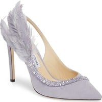 Jimmy Choo Tacey Crystal & Feather Embellished Slingback Sandal (Women) | Nordstrom