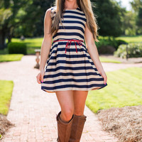 Seaside Sass Dress, Navy-Taupe