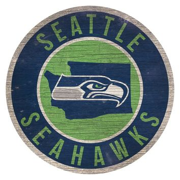 Seattle Seahawks Sign Wood 12 Inch Round State Design