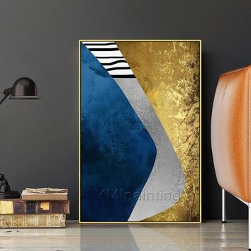 Oil original 2 pieces Gold abstract Painting on Canvas silver blue wall painting for living room large wall art quadro cuadros abstractos