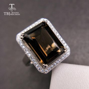 TBJ,Classic big size gemstone ring with Natural smoky oct10*14mm in 925 sterling silver special gemstone jewelry gift for women