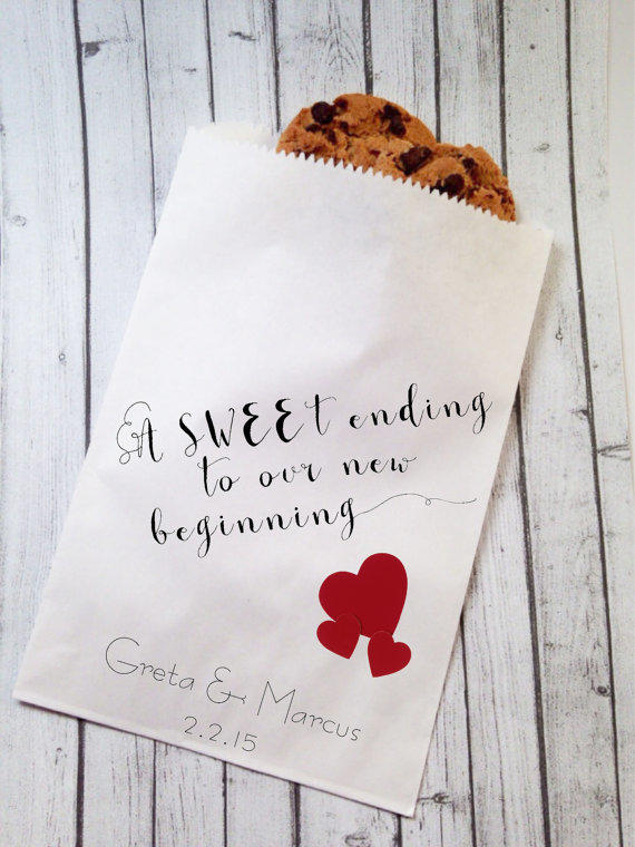 Valentines Day Wedding Cookie Bags Candy Buffet Sacks Custom Favors 25 Cake Rustic Recycled Brown Paper Printed