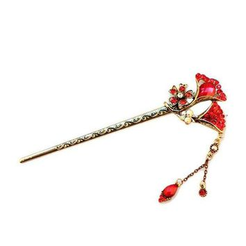 LMF78W New Flower Curved Retro Vintage Wave Hairpin Antique Hair Sticks Flower Pretty Hair Decoration Hair Accessory Chinese Hair Clips