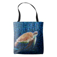 Sea Turtle on Blue Background Honu Tote Bag