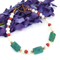 Handmade Bracelet Russian Amazonite Pearls Red Glass Gemstone Jewelry